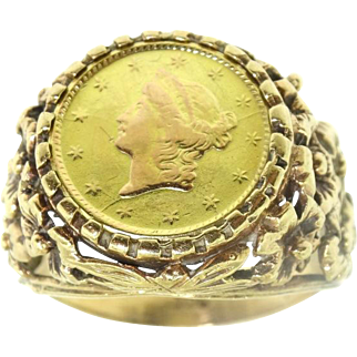 Antique 9k Yellow Gold 22k Gold 1853 1 Dollar Liberty Coin Ring Sz 7.75