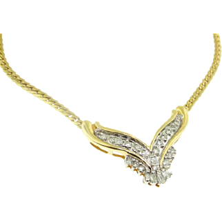14k Yellow Gold .50 Carat Round & Baguette Diamond Necklace 17""