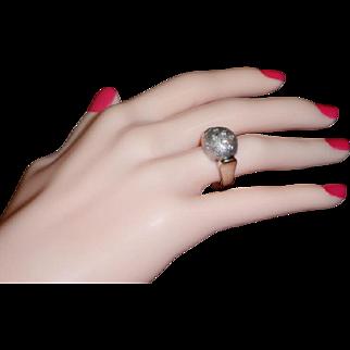 Modernist Lunar Moon 14k White Gold Diamond Dome Ring Sz 7