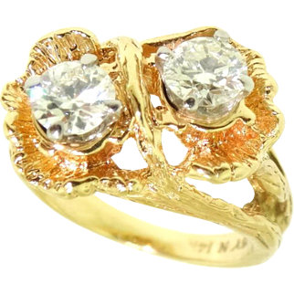 Vintage Deco Era 14k Yellow Gold .72 ctw European cut VS Diamond Ring