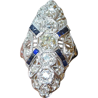 "Large 1 3/8"" Antique Art Deco Edwardian Era Platinum 2.50 Carat t.w Diamond & Sapphire Ring"