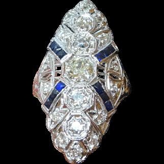 "Large 1 3/8"" Antique Art Deco Edwardian Era Platinum 2.50 Carat t.w Diamond & Sapphire Ring"