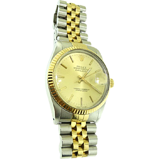 36mm. Mens 16013 18k Gold & Stainless Rolex DateJust Jubilee Bracelet Watch with Both Boxes
