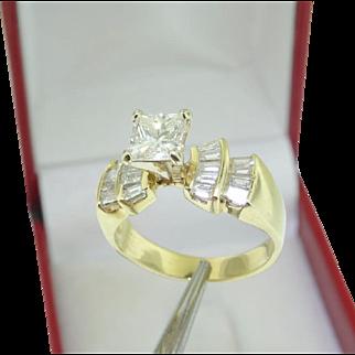 $7,900 14k Yellow Gold 2 Carat t.w VS Princess cut Diamond Engagement Wedding Ring