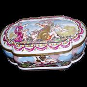 Large Antique French Ormolu Porcelain Scenic Enamel Cherub Capodimonte Style Dresser Box Jewelry Casket
