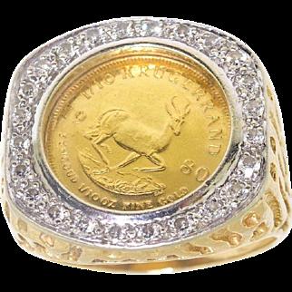 Large 16.3gm Mens Vintage 14k Gold 22k Krugerrand Coin & Diamond Ring Sz 11