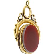 Antique Victorian 14k / 15k Gold Banded Ebony and Coral Agate Pocket Watch Chain Spinner Locket Fob