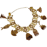 Vintage Sterling Silver Chinese Export Rose Gold Gilt 8 Charm Bracelet Bird Cage