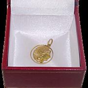 Antique Victorian 18k Gold 750 Bracelet Charm Lady Liberty America Open work