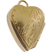 Antique Victorian 14k Gold Chased Heart Love Memory Puffy Locket Bracelet Charm