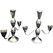 40 ounces Vintage Set Pair DUCHIN CREATION Sterling Silver Triple Candelabras Candlestick