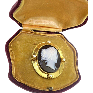 Important $4500 Antique Mid Victorian 14gm Lg Heavy Gold 18k Carved Hardstone Cameo Brooch Pin