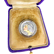Art Nouveau Enameled French Limoges 18k White Gold & 900 Platinum Diamond Lady Pin Brooch Pendant with fitted box
