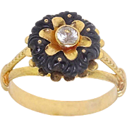 Antique Victorian 18k Yellow Gold w Rare Carved Floral Obsidian & Old cut  Buttercup MountTopaz Ring