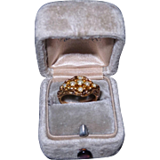 Antique Victorian 14k Yellow Gold Seed Pearl Ring Size 4.25