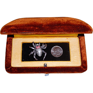 Rare French Art Nouveau Sterling Polychrome Enamel 3D Spider Watch Pin