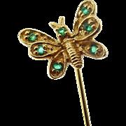 Antique Art Nouveau 9k Yellow Gold Tsavorite garnet Butterfly Stick Pin