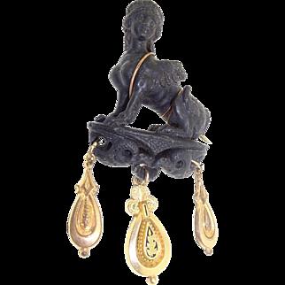 Antique 1700's Georgian Carved 9ct 9k Gold Winged Ancient  Pompeii Greek Sphinx Black Breast Lion Eagle Snake Brooch Pin
