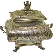 Antique HH Dutch 833 Silver Repousse Scenic Tea Spice Keeper Safe Box Caddy with Lion Paw Feet
