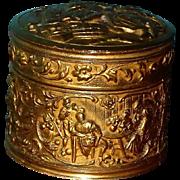 Antique Art Nouveau Gold Gilt Repousse Scenic Figural Jewelry Keeper Vanity Box