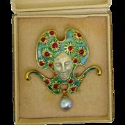 Art Nouveau Tiffany Enamel Lady Sunflower 18k Brooch Pin