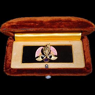 French Antique Art Nouveau Limoges Enamel Amethyst Lady Brooch Pin