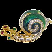 Vintage Swarovski Crystal Enamel Snail Brooch Pin