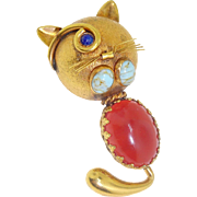 Vintage Italy Art Glass Cabochon Cat Kitty Lover Figural Brooch Pin Heavy Gold Plate