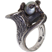 1950 Vintage Taxco Mexico 950 Silver Free Form Studio Impressionist Baroque Pearl Ring