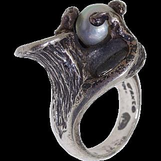 1950 Vintage Taxco Mexico 950 Silver Free Form Studio Impressionist Baroque Pearl Ring