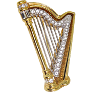 Signed Swarovsky Swan Hallmark Crystal Large Musical Harp Brooch Pin RT $165