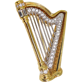 Signed Swarovsky Swan Hallmark Crystal Large Musical Harp Brooch Pin RT $165