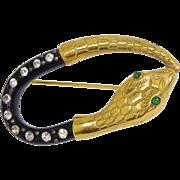 Antique Art Nouveau Era Heavy Gilt Gold Snake Serpent Paste Brooch Pin
