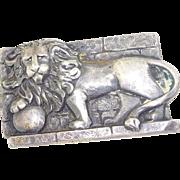 Antique 800 Silver Roman Lion Brooch Pin