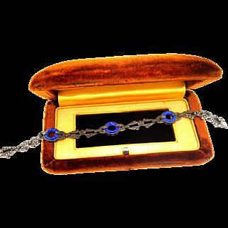 Vintage Art Deco Era Sterling Marcasite & Lapis Bracelet