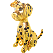 Large 3D Quality Vintage Enamel Dalmatian Puppy Dog Brooch Pin Gold and Black and ADORABLE