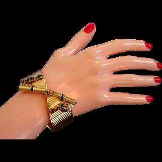 Art Deco 14k 18k Gold Spray Charm Bracelet Diamond Emerald Sapphire WIDE Bow Tie  / Butterfly Vintage WWII
