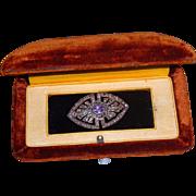 Vintage 925 Sterling Amethyst & Marcasite Brooch Pin