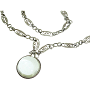 Opera Length Sterling Antique Art Nouveau Chain w  Large Crystal Pools of Light Orb Charm Pendant Necklace
