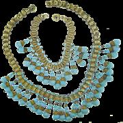 Antique Art Nouveau Pate De Verre Turquoise Art Glass Book Chain Necklace Bracelet Set