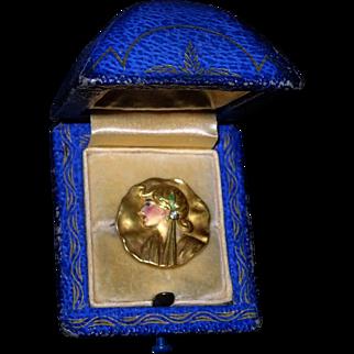 Antique 1904 Art Nouveau Mucha 18k Gold Diamond French Limoges Enamel Lady Pin Brooch