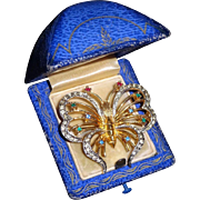 Vintage Rhinestone Butterfly Figural Fancy Ruby Emerald Diamonte Paste Pin Brooch or Pendant