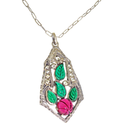 Original Art Deco Sterling Fruit Salad Cut CARVED Poured Ruby Emerald Glass Necklace - Red Tag Sale Item