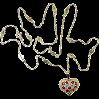 """30"""" Art Deco Nouveau Plique A Jour French Ruby Red Emerald Green 14k Gold Enamel Heart Necklace 1910 - 1920"""