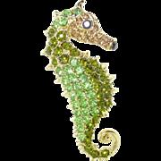 Vintage LARGE Peridot Pastel Rhinestone Seahorse Pin Brooch or Pendant
