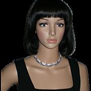 Vintage Rhinestone Necklace in Silvertone with Case