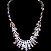 Vintage Rhinestone Necklace in Silvertone