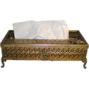 Vintage Stylebuilt Filigree Tissue Box with Roses and Cabriole Legs