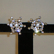 Vintage Rhinestone Clip-On Earrings in a Star Shape