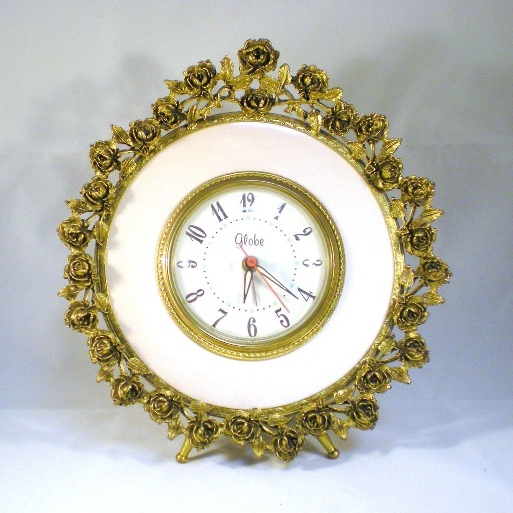 Vintage Globe Ormolu Alarm Clock